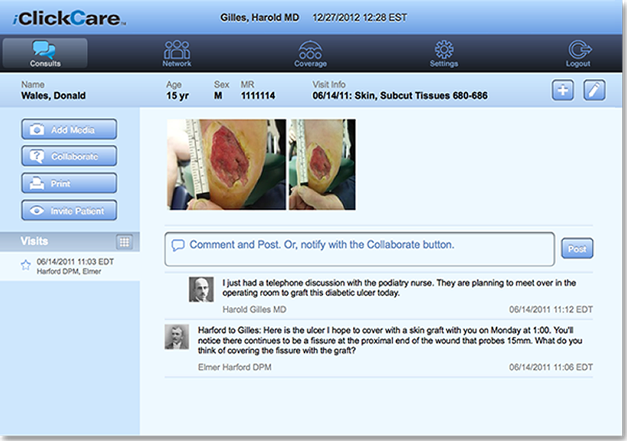 iClickCare gives the visiting nurse or WOCN a HIPAA compliant way to communicate with other providers and family members