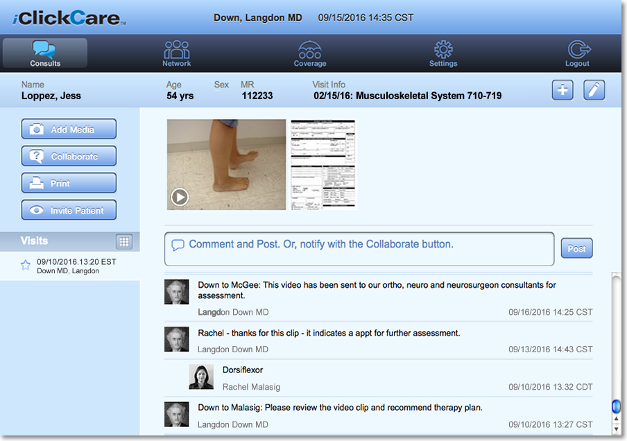 iClickCare enabled three consultants to securely share a video of the patient's condition